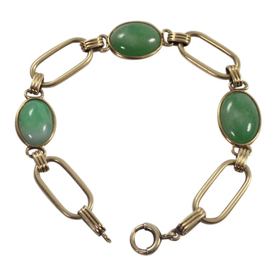 Retro 14K Yellow Gold Jade Bracelet