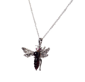 Mid Century 14K White Gold Garnet, Diamond, and Ruby Fly Pendant