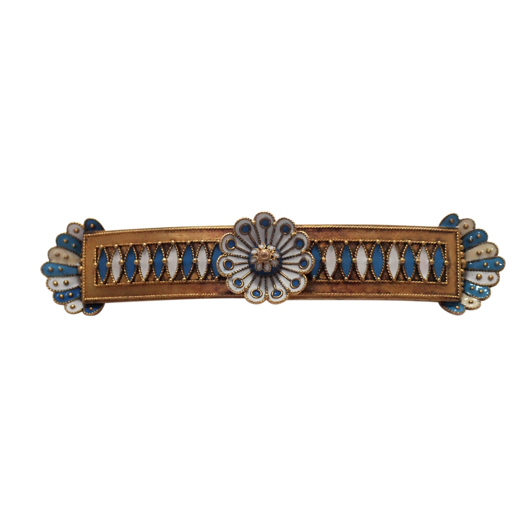 Antique 14K Yellow Gold Enamel Brooch