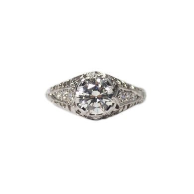 Art Deco Style Platinum Diamond Engagement Ring