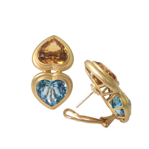 18K Yellow Gold Citrine and Blue Topaz Earrings
