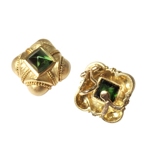 18K Yellow Gold Tourmaline Ear Clips