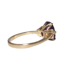 14K Yellow Gold Amethyst and Diamond Ring