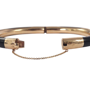 14K Yellow Gold Onyx Bangle Bracelet