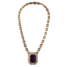 14K Yellow Gold Amethyst and Diamond Necklace