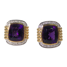 18K Yellow Gold Amethyst and Diamond Earrings
