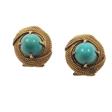 14K Yellow Gold Turquoise Earrings