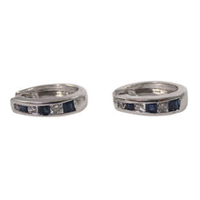 14k White Gold Sapphire and Diamond Hoops Earrings