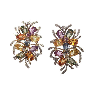 14K White Gold Multi-Color Sapphire and Diamond Earrings