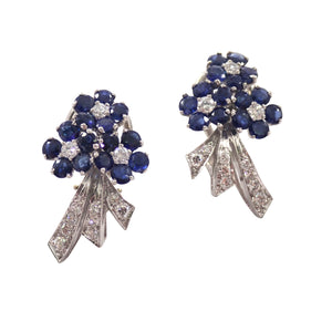 Platinum Sapphire and Diamond Clip Earrings