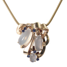 Retro 14k Yellow Gold Moonstone and Sapphire Necklace