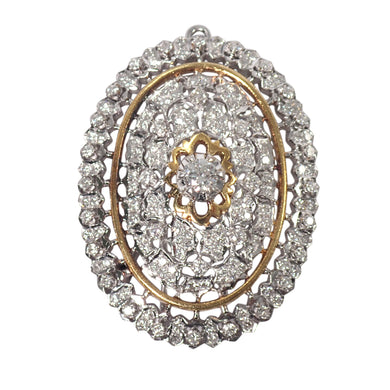 18K White and Yellow Gold Diamond Pin/Pendant