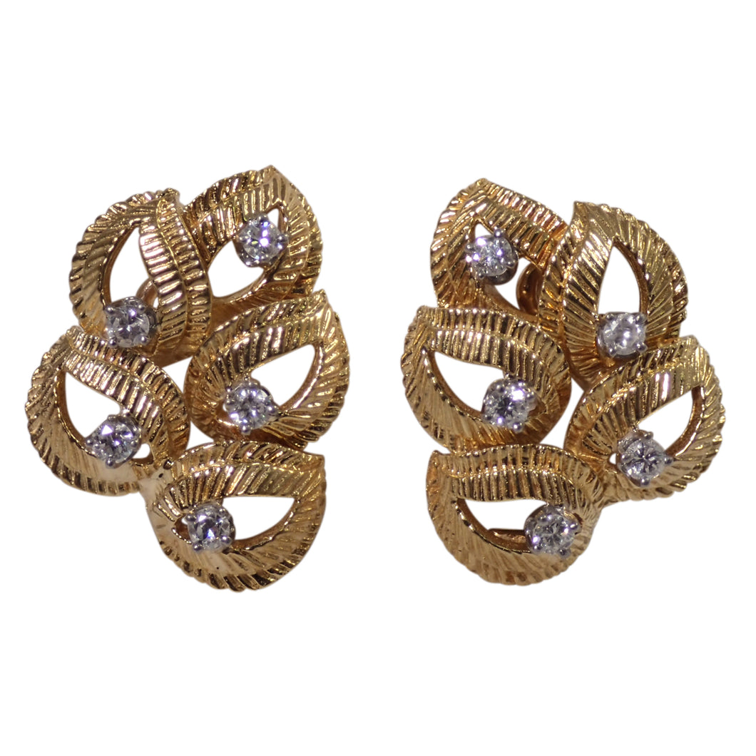 18k Yellow Gold Diamond Leaf Earrings
