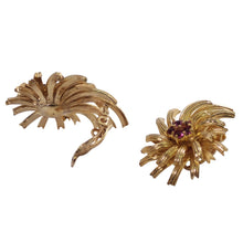 14K Yellow Gold Ruby Starburst Earrings