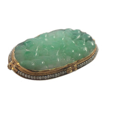Antique 14k Yellow Gold Jade and Seed Pearl Brooch