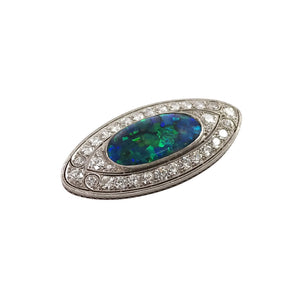 Edwardian Marcus and Co. Platinum Black Opal and Diamond Brooch