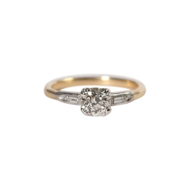 Art Deco Platinum and Gold Diamond Engagement Ring