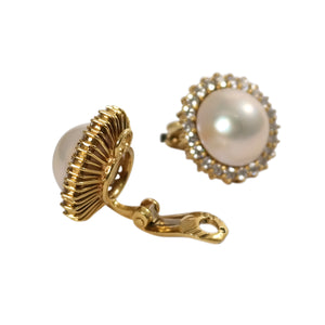 18k Yellow Gold Mobe Pearl and Diamond Earrings
