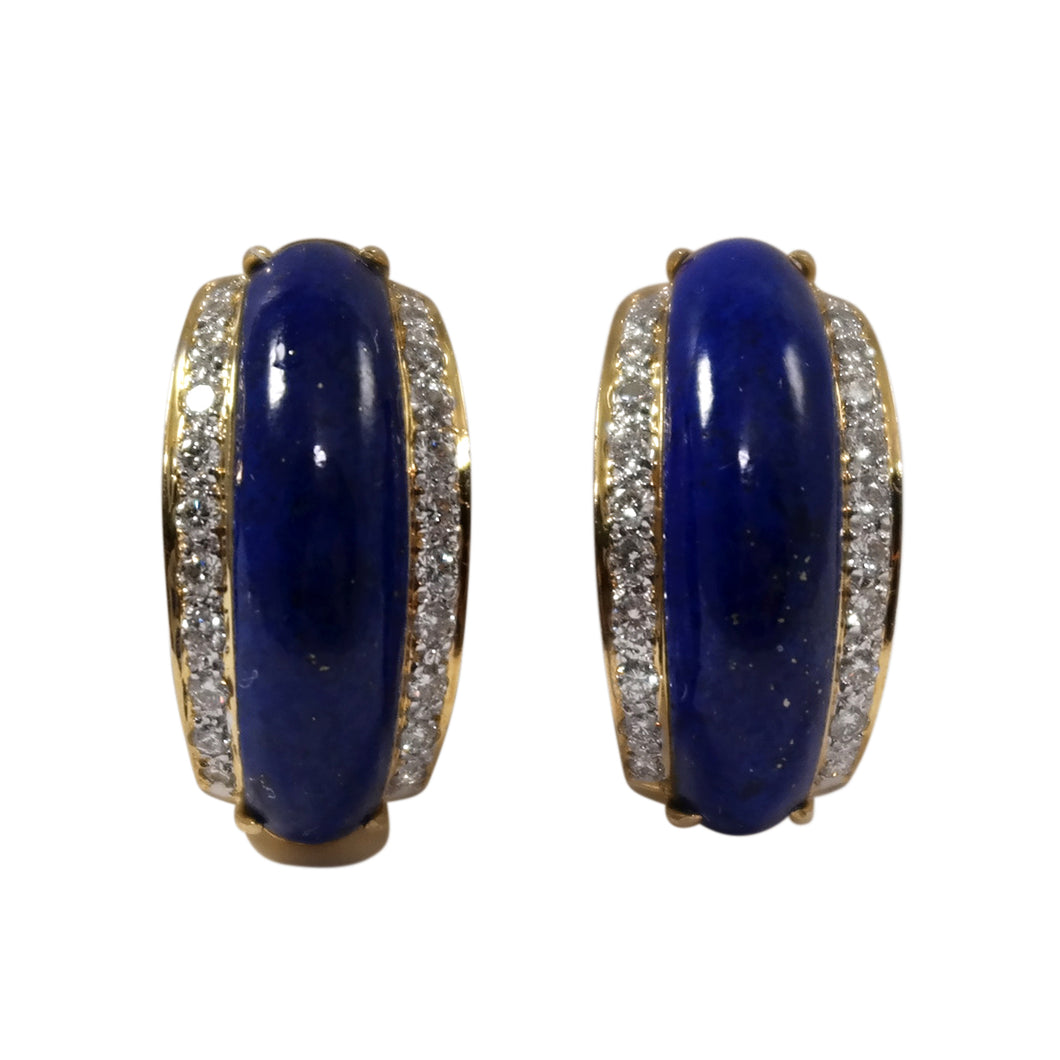 18k Yellow Gold Lapis and Diamond Earrings