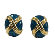 18k Yellow Gold Enamel Dome Earrings