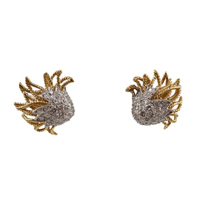 18k Yellow Gold and Platinum Diamond Earrings