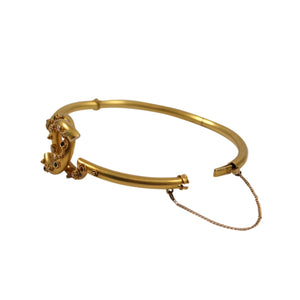 Antique 14k Yellow Gold Emerald and Seed Pearl Bangle Bracelet