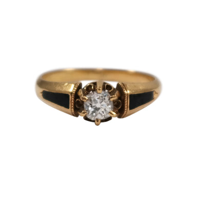 Antique 18k Yellow Gold Diamond and Enamel Engagement Ring