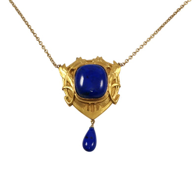 Arts & Crafts 14k Yellow Gold Lapis Necklace