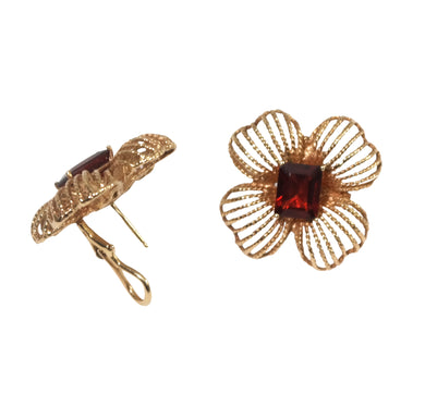 14k Yellow Gold Garnet Earrings