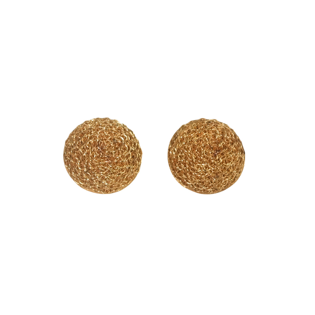 18k Yellow Gold Textured Dome Earrings
