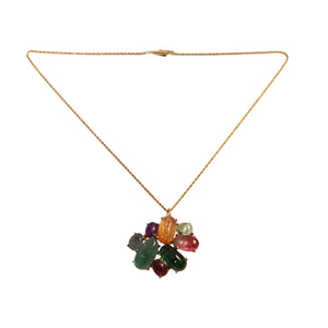 14k Yellow Gold Multi Stone Pin/Pendant