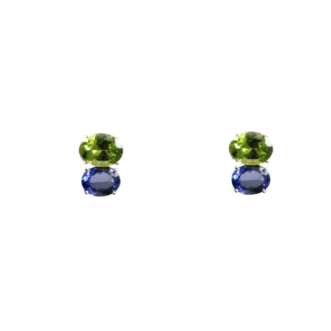 14k Yellow Gold Peridot and Tanzanite Earrings