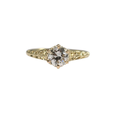 Antique 14k Yellow Gold Diamond Engagement Ring