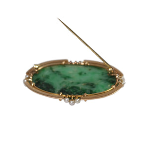Art Deco 14k Yellow Gold Jade and Pearl Brooch