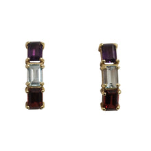 14k Yellow Gold Amethyst, Aquamarine, and Garnet Earrings
