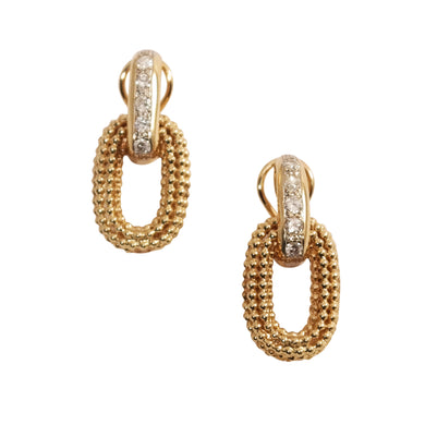 14k Yellow Gold Door Knocker Diamond Earrings