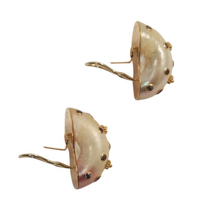 Trianon 14k Yellow Gold Shell Earrings