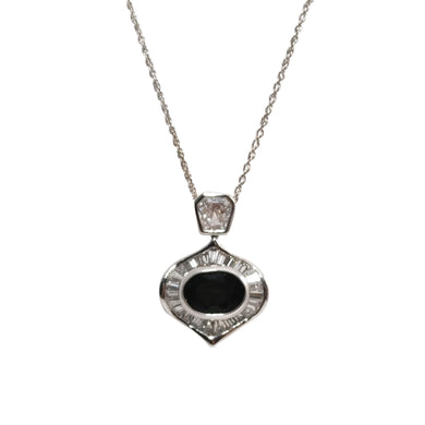 18k White Gold Tourmaline and Diamond Pendant