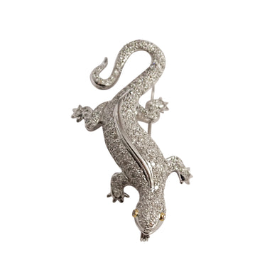 18K White Gold Diamond Lizard Brooch