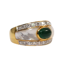 18k Yellow Gold Emerald, Diamond, and Mother of Pearl Ring