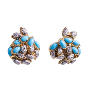 18k Yellow Gold Turquoise and Diamond Earrings