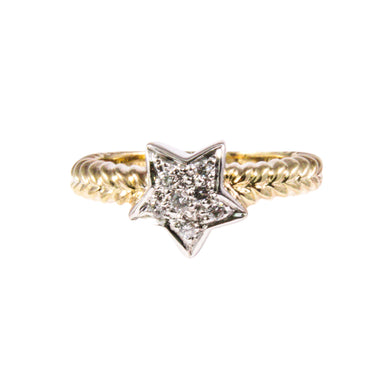 14k Yellow and White Gold Diamond Star Ring