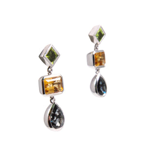 14k White Gold Peridot, Citrine, and Tourmaline Drop Earrings