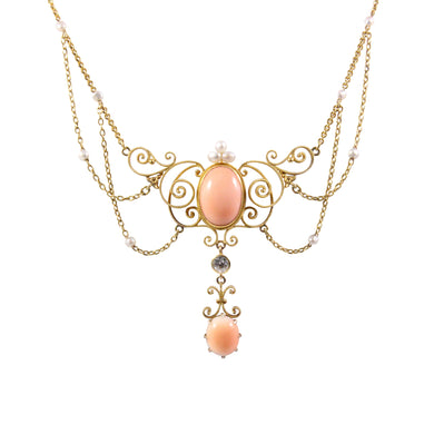 Antique 14k Yellow Gold Coral, Pearl, and Diamond Necklace