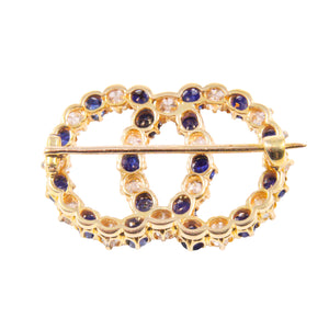 Antique 18k Yellow Gold Sapphire and Diamond Brooch