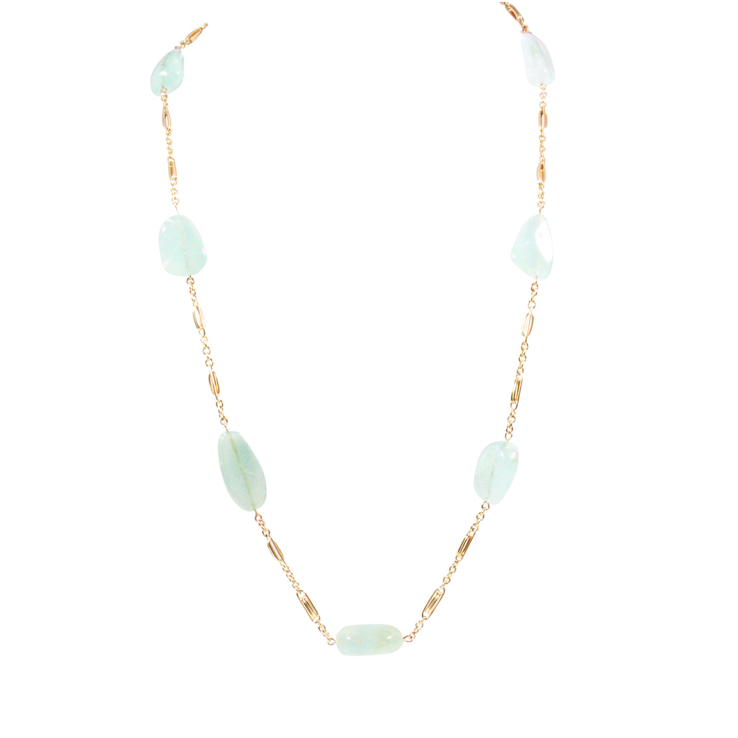 14k Yellow Gold Aquamarine Necklace