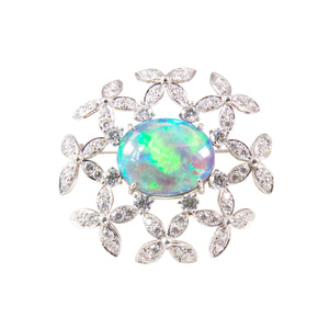 Suna Platinum Black Opal and Diamond Brooch