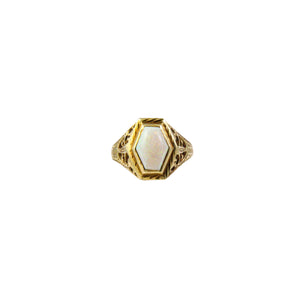 Art Deco 14k Yellow Gold Opal Ring