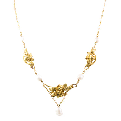 French Art Nouveau 18k Yellow Gold Pearl Necklace