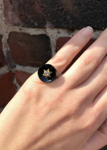 Victorian 14k Yellow Gold Onyx and Diamond Ring